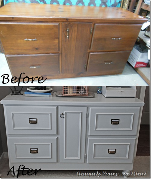 Before and after gray painted office credenza