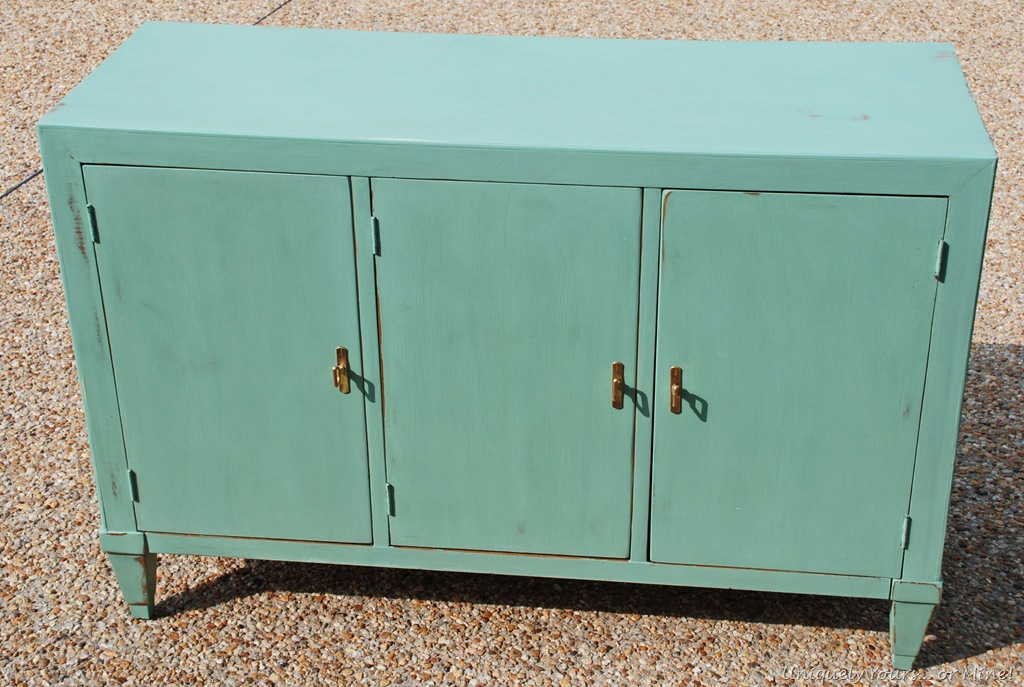 Vintage console cabinet painted custom blue chalk paint