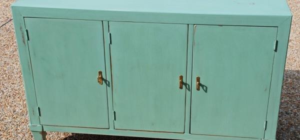 Vintage console cabinet painted custom blue chalk paint