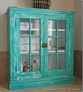 Vintage hutch bathroom storage