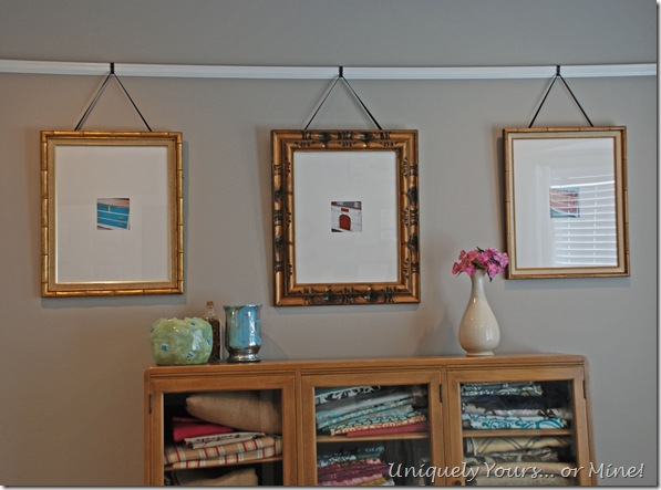 Hanging pictures on a picture rail