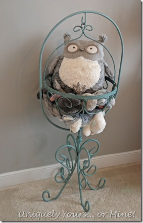 Vintage plant stand stuffed animal holder