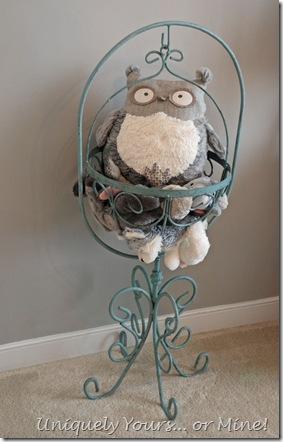 Vintage plant stand stuffed animal holder