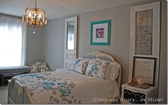 grey painted girls bedroom