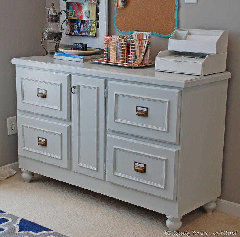 Gray Painted Credenza For Study Office