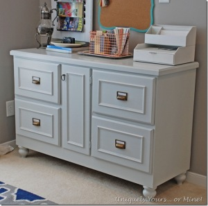 Gray painted credenza