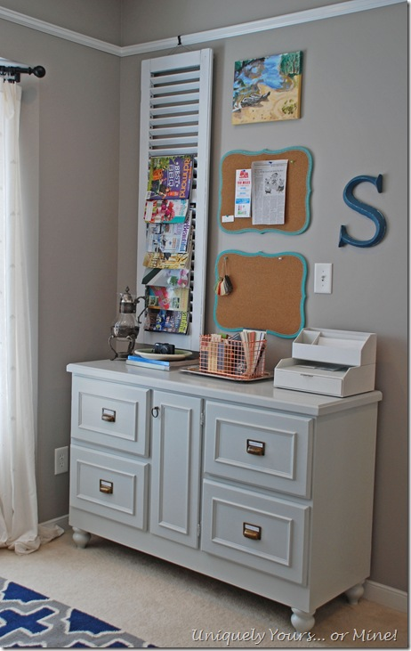 Gray painted office credenza