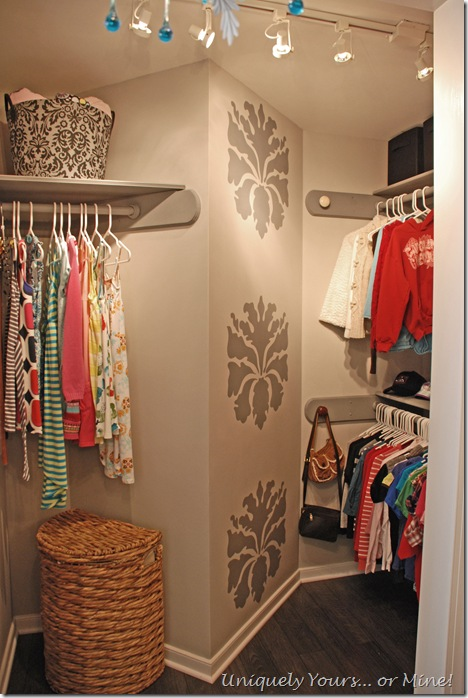 grey painted and stencled custom closet