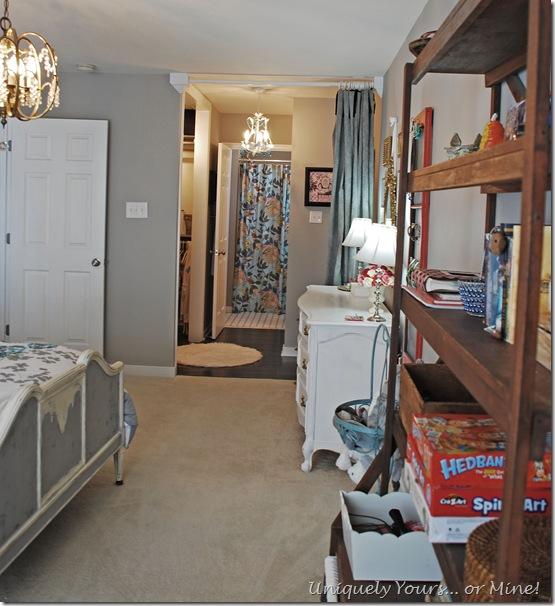 updated girls grey painted bedroom