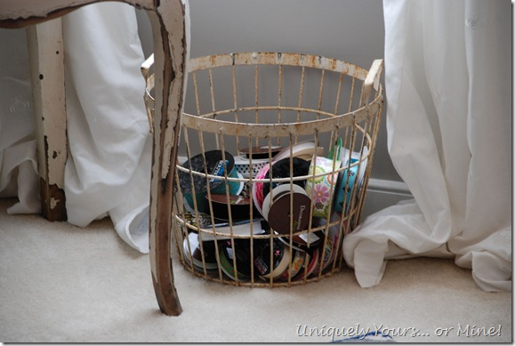 Vintage basket for ribbon storage