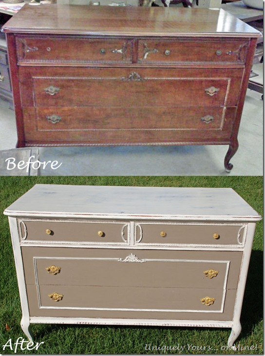 Before and After French chest painted Old White and CoCo ASCP