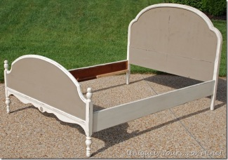 Vintage bed painted in Old White and Coco chalk paint