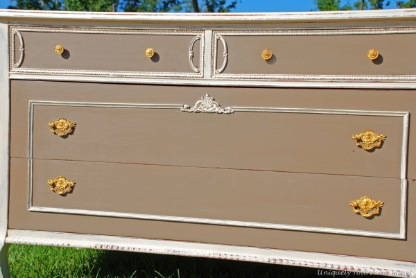 Old white and coco painted vintage chest