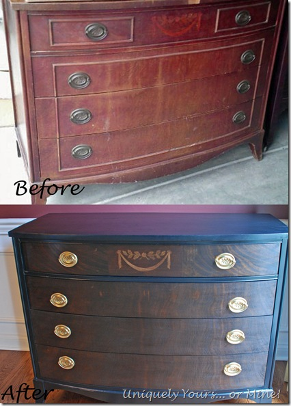 Before and After refinished chest of drawers