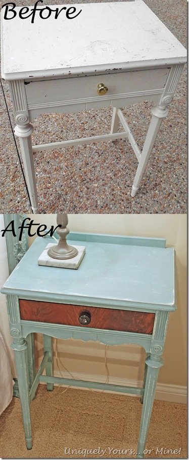 Before and after refinished nighstand