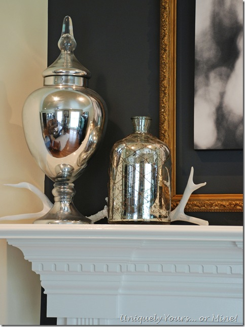 Using silver against gray painted fireplace