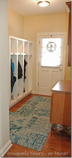 Mudroom with FLOR carpet squares