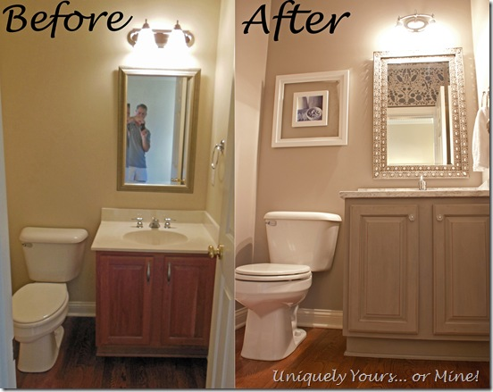 Before and After gray powder room update