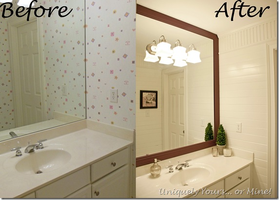 Before and after girls bathroom update with planked walls