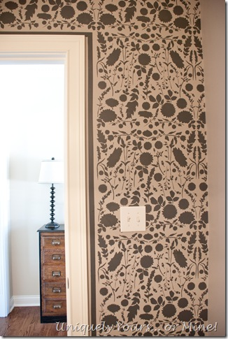 woodland stencil on powder room wall