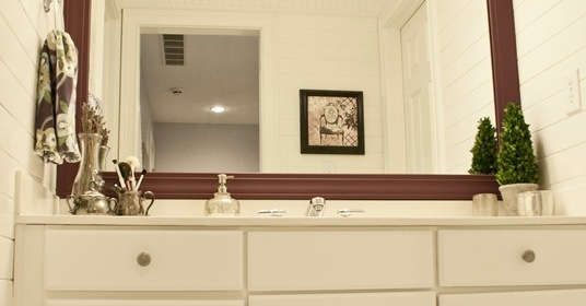 Updated girls bathroom with wood plank walls