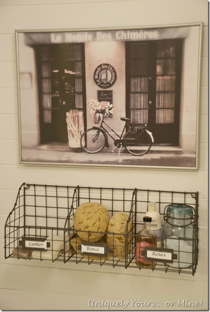 wire basket for bath and spa items in bathroom