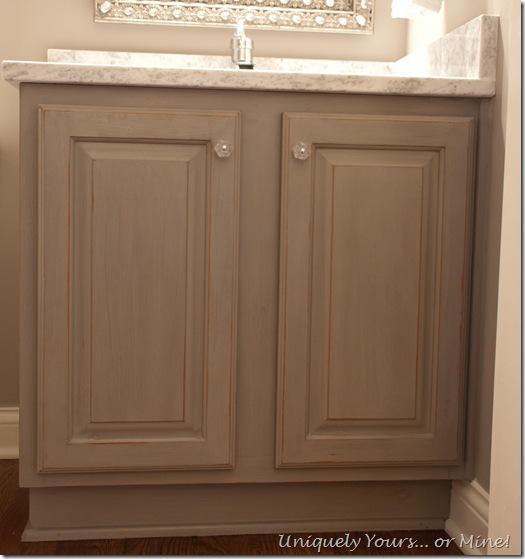 Gray painted vanity using American Paints