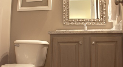 Updated powder room painted gray