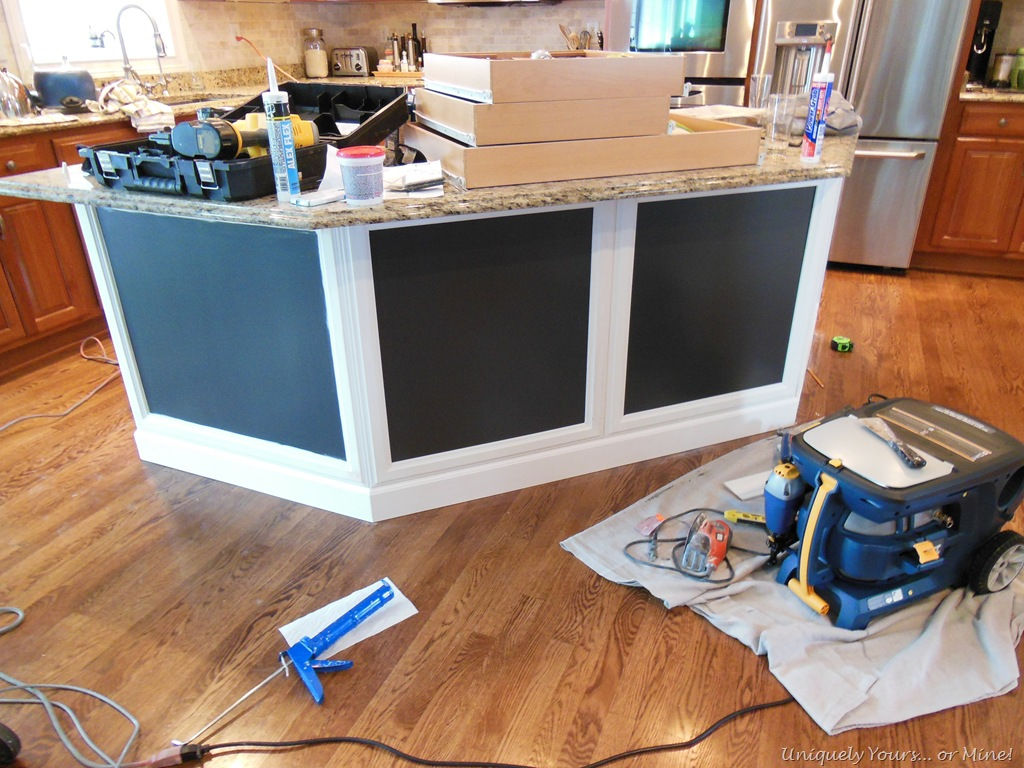 adding molding to kitchen island   Uniquely Yours or Mine!