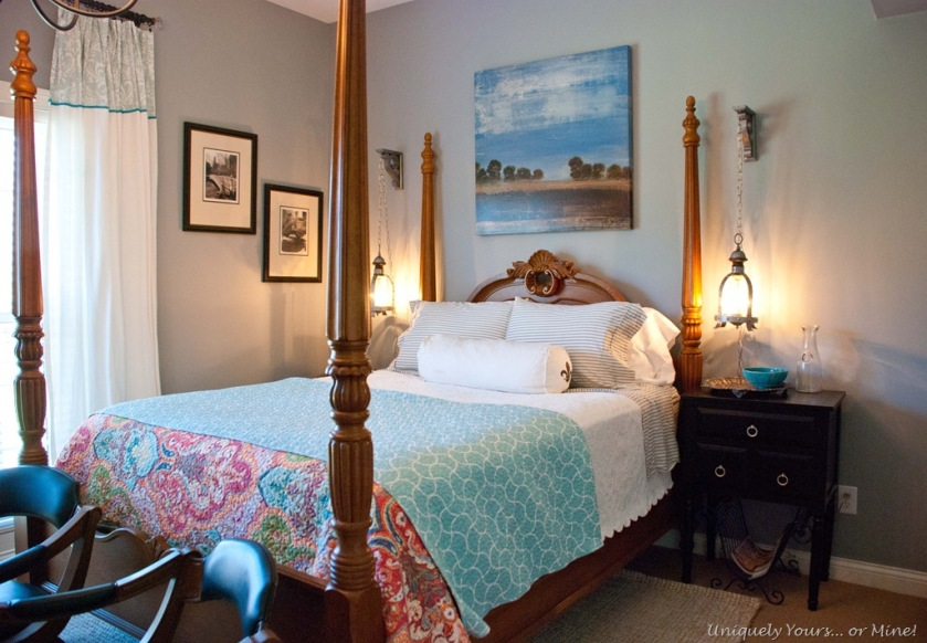 blue gray painted basement guest bedroom
