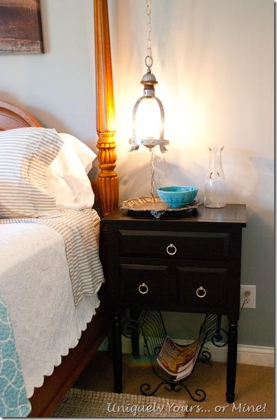 blue gray guest bedroom pendant lighting