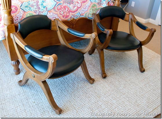 vintage Drexel X base leather and maple chairs