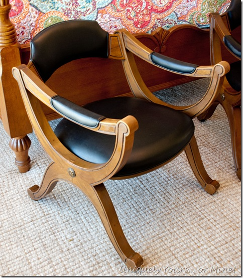 vintage Drexel X base leather and maple chair