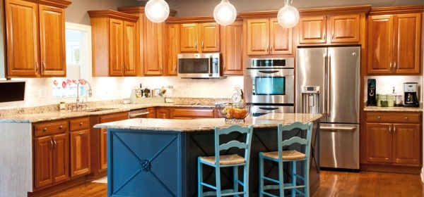 updated painted kitchen island cabinets