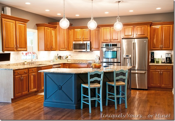 Painted kitchen island with added molding