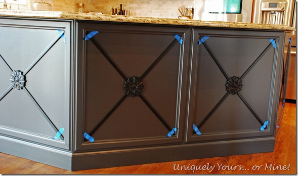 embellishing adding moldings to kitchen island cabinets