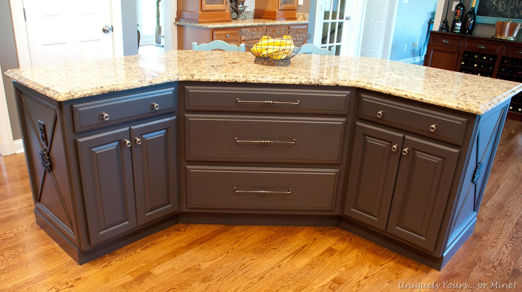 Gray Painted Kitchen Island on electrical outlets and switch plates