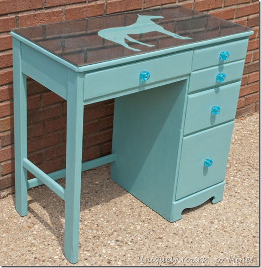 ASCP Provence blue painted vintage wood childs desk
