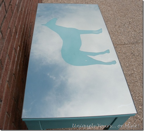 horse silhouette back painted glass with looking glass spray