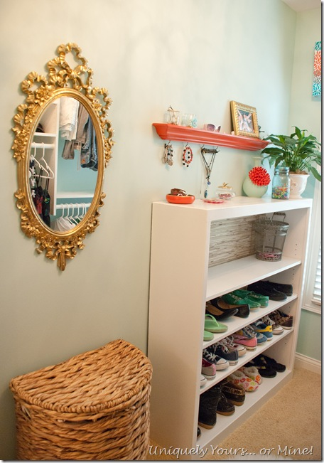 Closet makeover shoe storage jewelry organization