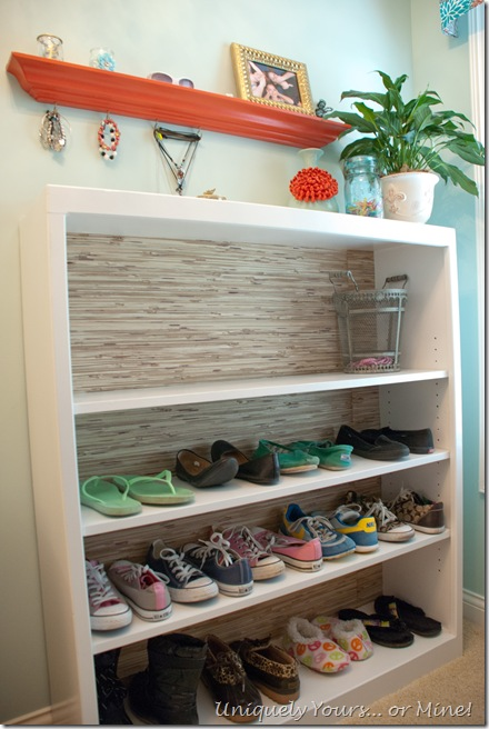 Updated bookcase to use as shoe shelf in closet