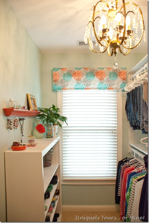 Blue and Coral closet makeover