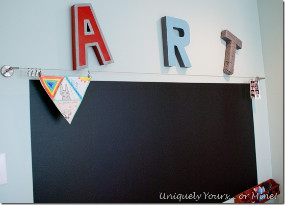 Art wall with chalkboard