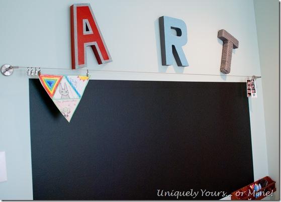 Art wall with chalkboard