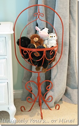 Coral painted vintage flower stand