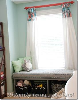 Teenage girl bedroom blue, coral & gray