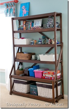Vintage shelving for toy storage
