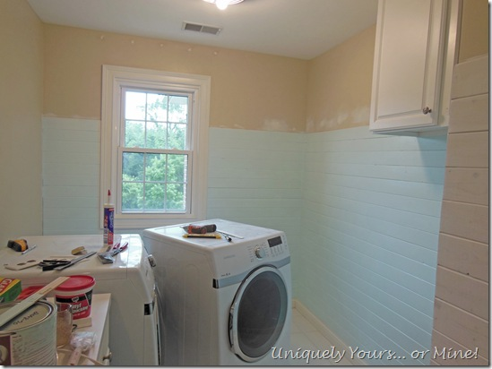 Benjamin Moore Barely Teal paint in laundry room