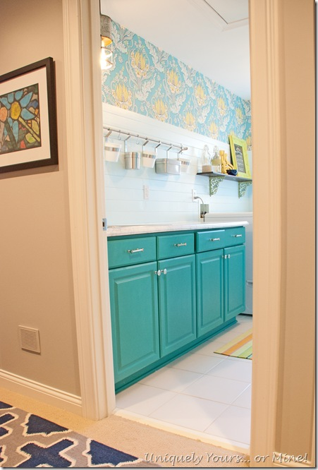 Laundry room makeover update, blue, teal and citron