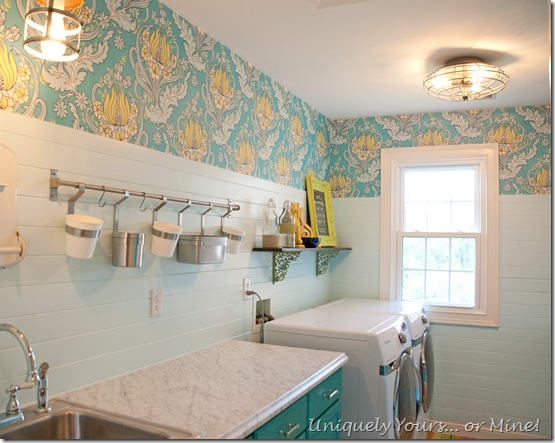 Amy Butler wallpaper and v grove planked laundry room walls